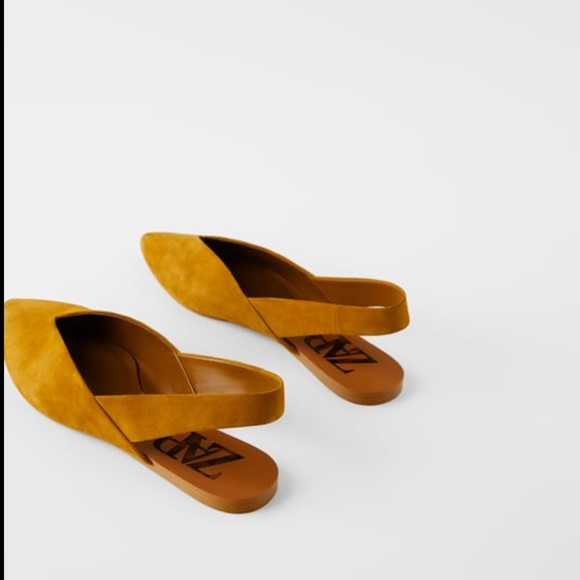 Split Leather Slingback Flats Nwt